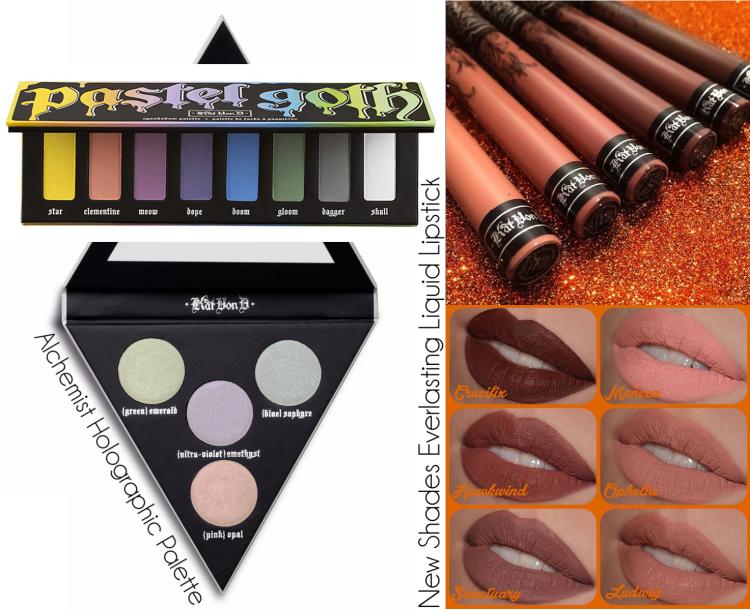 KAT VON D Swatchs New Shades Everlasting Liquid Lipstick Pastel Goth et Alchemist Holographic Palette.png