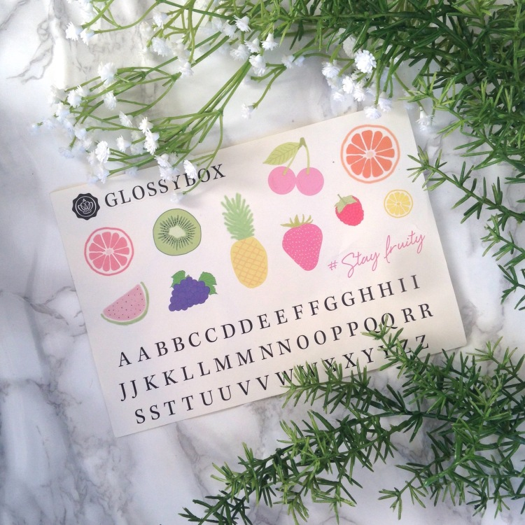 Glossybox Fruity Juin 2017 Stickers