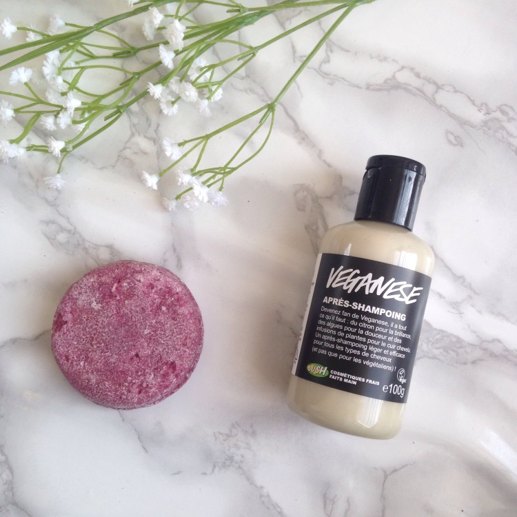 Revue LUSH Shampoing Solide Jason and the argan oil + après shampoing Veganese (3)