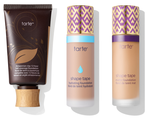 Fond de teint Amazonian Clay de Tarte + Hydrating foundation Shape Tape + Matte foundation Shape Tape.png
