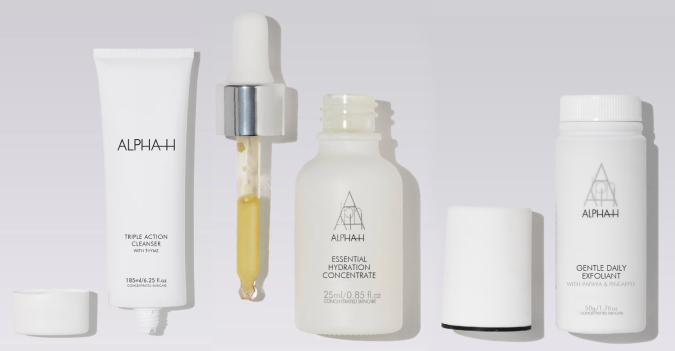 alpha h - alpha h - triple action cleanser + essential hydration concentrate + gentle daily exfoliant