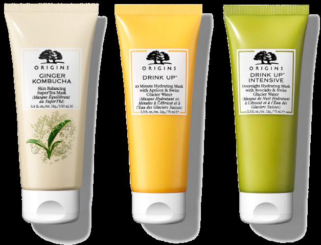 Origins - Ginger Kombucha Masque équilibrant au SuperThé + Masque de nuit avocat + Masque hydratant abricot.png